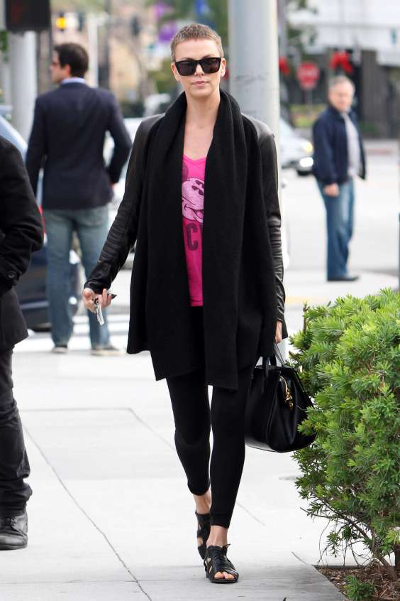 Charlize Theron - tights Candids out in Beverly Hills-03