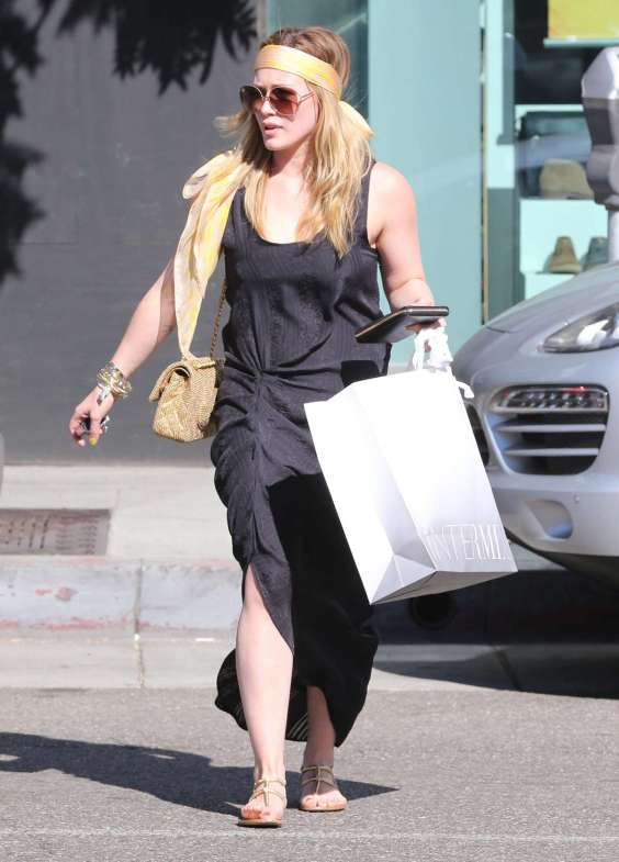 Hilary-Duff-in-long-black-dress-Out-for-Shopping--09