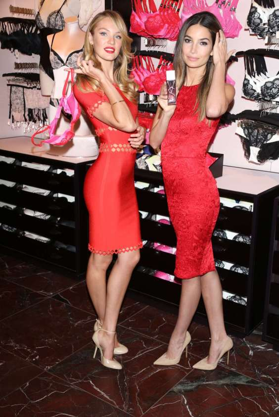 Lily-Aldridge-and-Candice-Swanepoel-in-Red-Dress-at-VS-Angels-Valentines-Day-Event--02